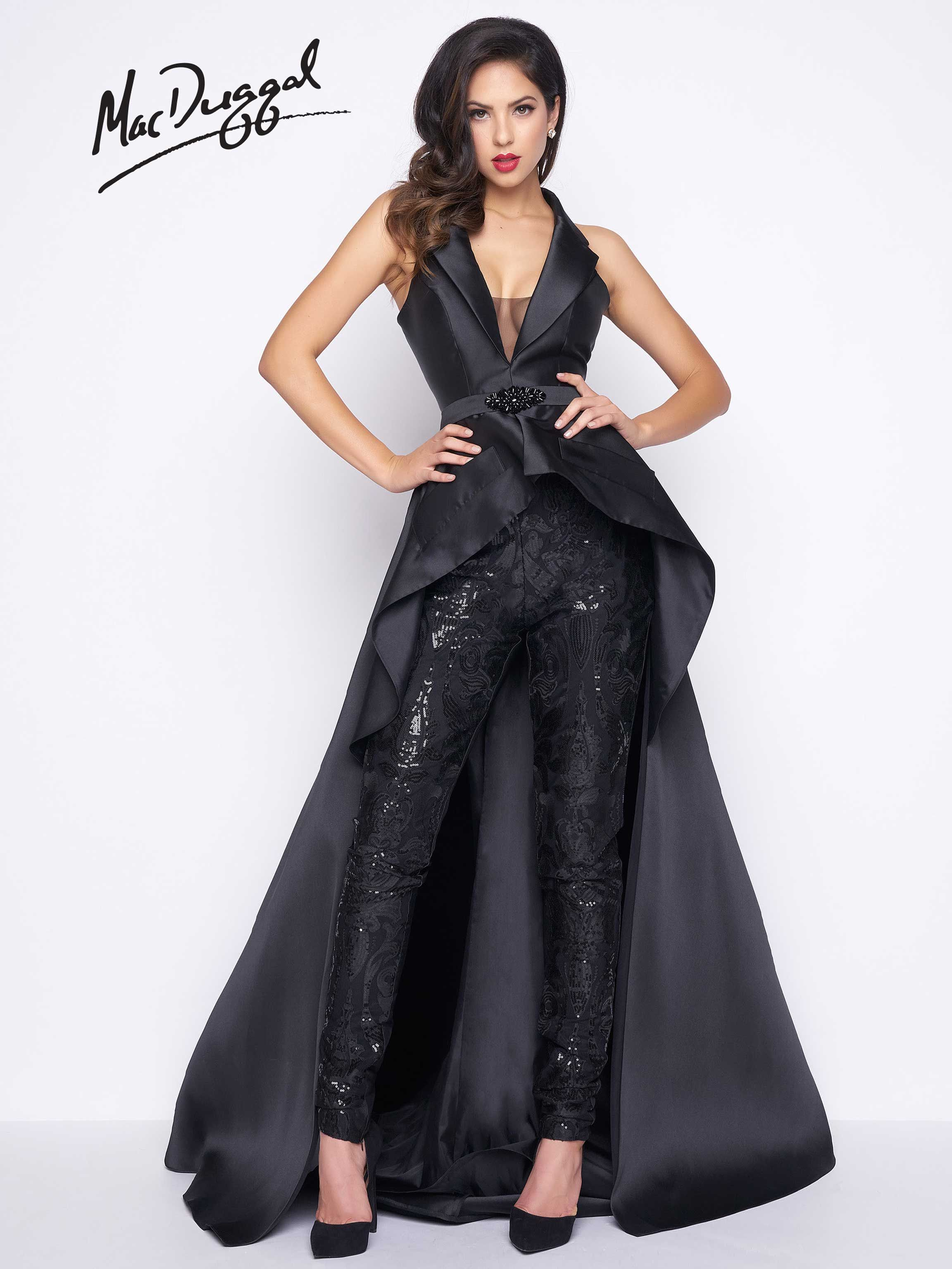 R Mac Duggal Sequin pants jumpsuit with tuxedo collar Spring 2017 collection This modern gown with skinny sequined pants boasts a plunging neckline