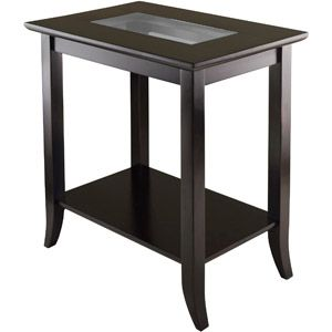 Genoa Square End Table with Glass Top Espresso
