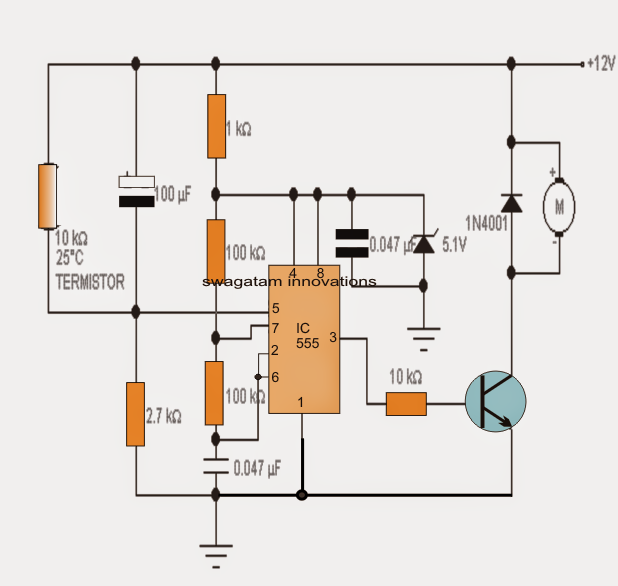 in this post we study about a automatic fan speed regulator circuit Temperature Controlled Room Fan