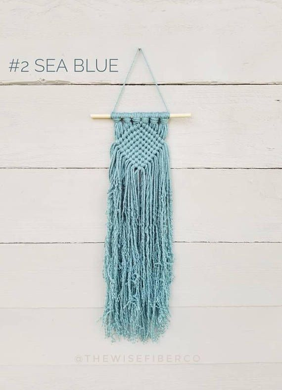 Mini Macrame Wall Hanging In Your Choice Of 10 Different Coastal Beach House Themed Colors 1 Glacier 2 Sea Blue 3 Teal 4 Peacock 5 Mint 6 Medium Macrame