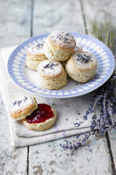 Lavender scones!  Personal edit: Process the sugar until super fine before adding and serve the scones with clotted cream and jam.