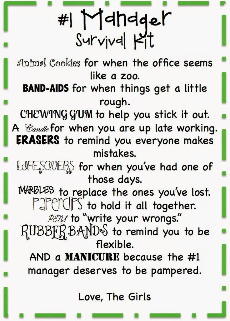 Printable 2020 Christmas Gift Manager Manager Survival Kit Free Printable | Employee appreciation gifts