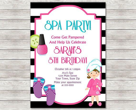 Spa Party Invitation Spa Birthday Invitation Pamper Party