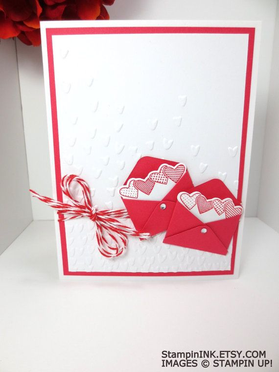 Handmade Valentine Card: Stampin Up Red Valentines, Sealed with Love, Falling Petals by StampinINK