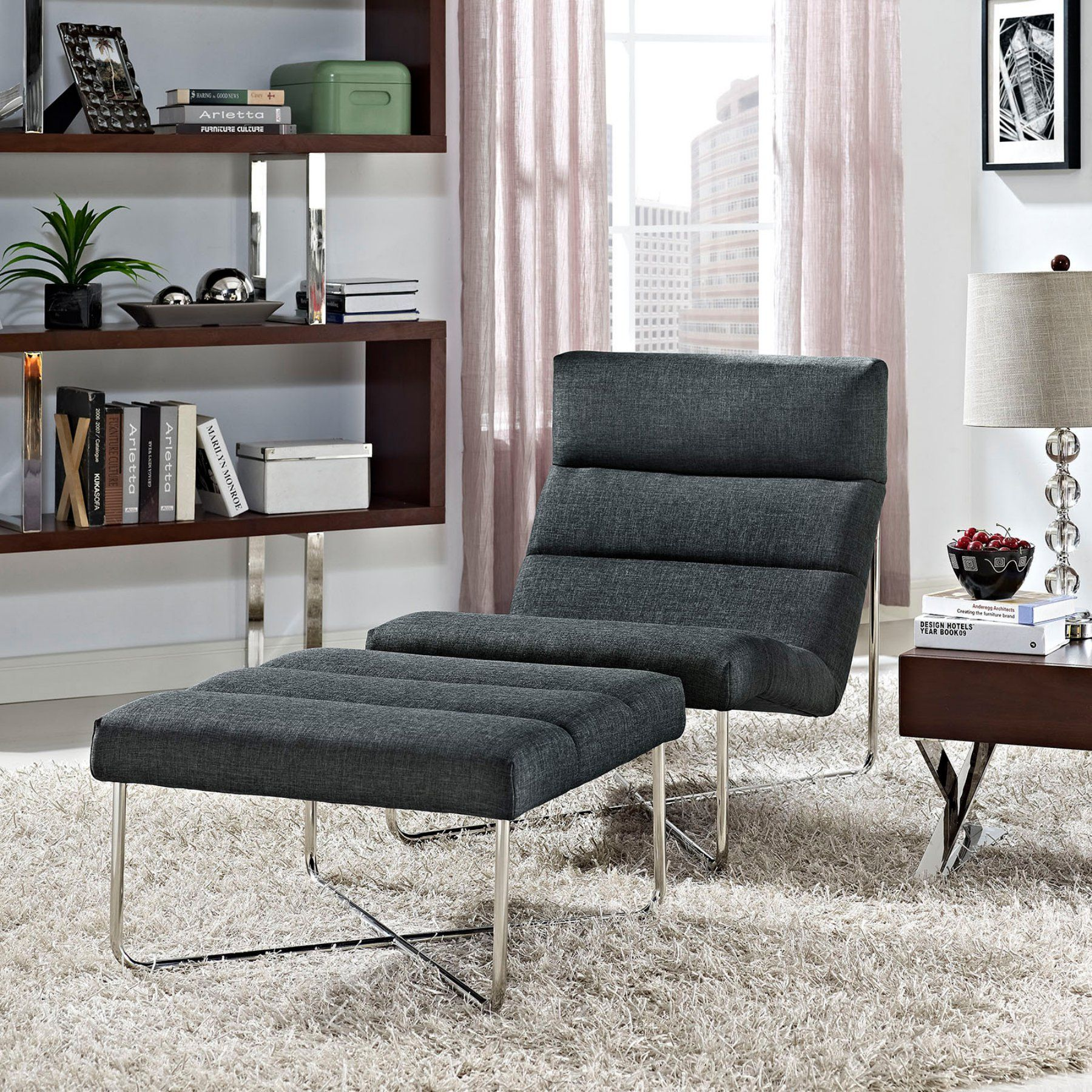 Modway Reach Living Room Fabric Accent Chair and Ottoman Set