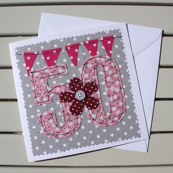 50th Birthday Card Machine Embroidered Personalised Insert