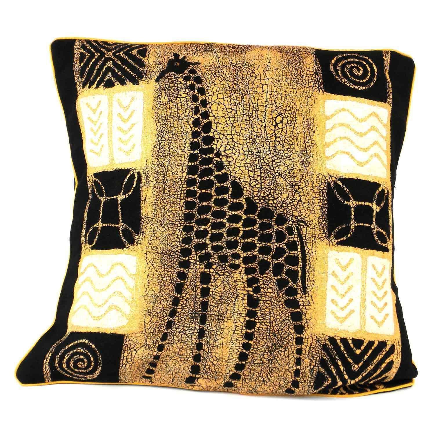 Global Crafts Handmade Giraffe Design Batik Cushion Cover Zimbabwe Black and White Giraffe Batik Cushion Cover Size 17 x 17 Cotton Animal