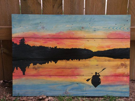 Handpainted Canoe Paddling Into Sunset I Would Love To