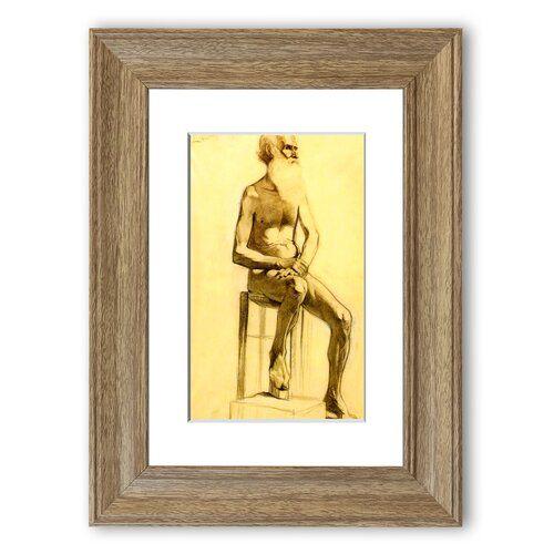 Photo of Bartiger Mann mit gekreuzten Händen Cornwall' Gerahmter Fotodruck East Urban Home Größe: 93 cm Höhe x 70 cm Breite, Rahmenoptionen: Teakholz