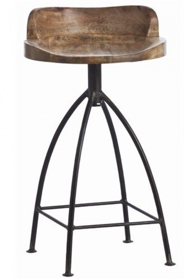 Love The Mix Of Wood And Metal For This Bar Stool