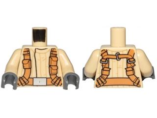 LEGO NEW BLACK MINIFIGURE TORSO LIGHT FLESH HANDS CASTLE ARMOR VEST PATTERN