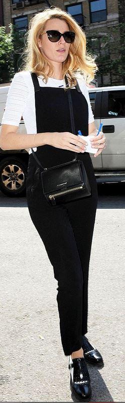 Purse – Givenchy  Overalls – Rag & Bone blake lively Who made Blake Livelys black overalls and leather handbag?
