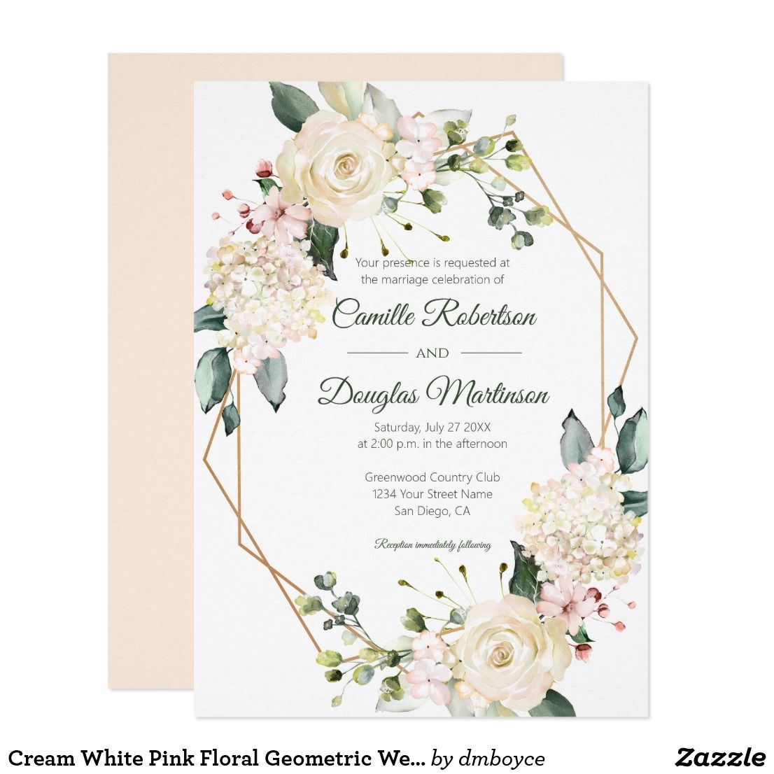 Cream White Pink Floral Geometric Wedding Invitation Zazzle