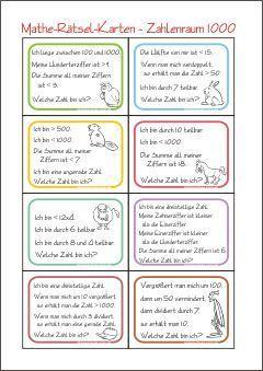 Zahlenrätsel-Karten - Zahl Gesucht - Rechnen im Zahlenraum 1000 ...
