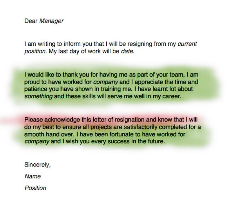 Write a Resignation Letter Resignation letter, Job resume and - resignation letter examples 2