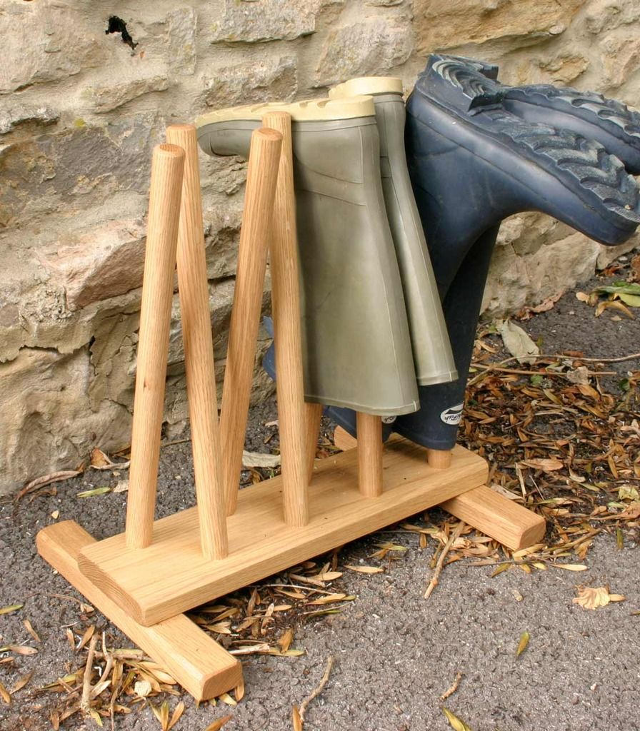 Oak Welly Boot Stand for 4 pairs — Present Finder - Birthday ideas and unusual presents UK