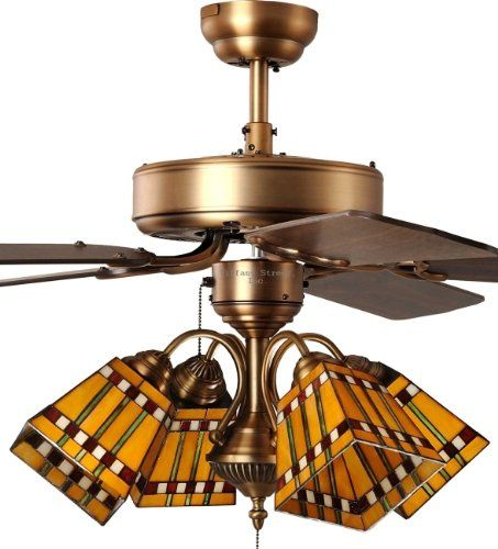 Cool Tiffany Street Prairie Corn Mission 4 Light Stained Glass Antique Brass Ceiling Fan 52 inch three light 5 blade indoor Tiffany style stained HD - Amazing 5 light ceiling fan Photo