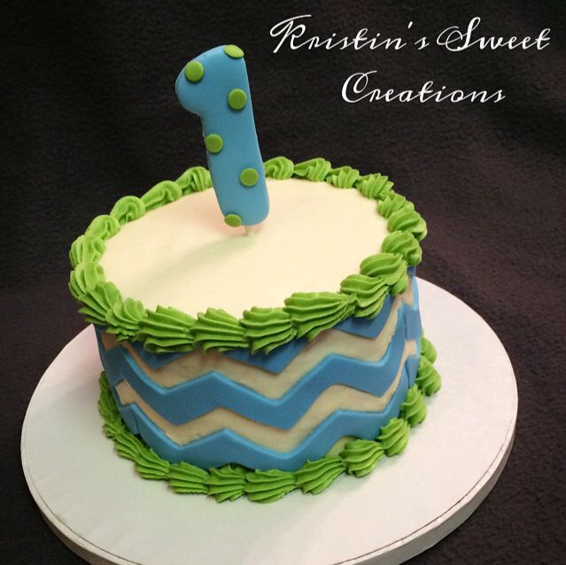 Blue Green And White Chevron Smash Cake For A 1st Birthday