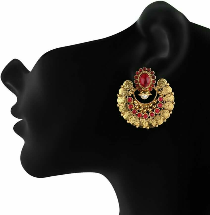 South Indian Laxmi Coin Earrings   South Indian Imitation ...