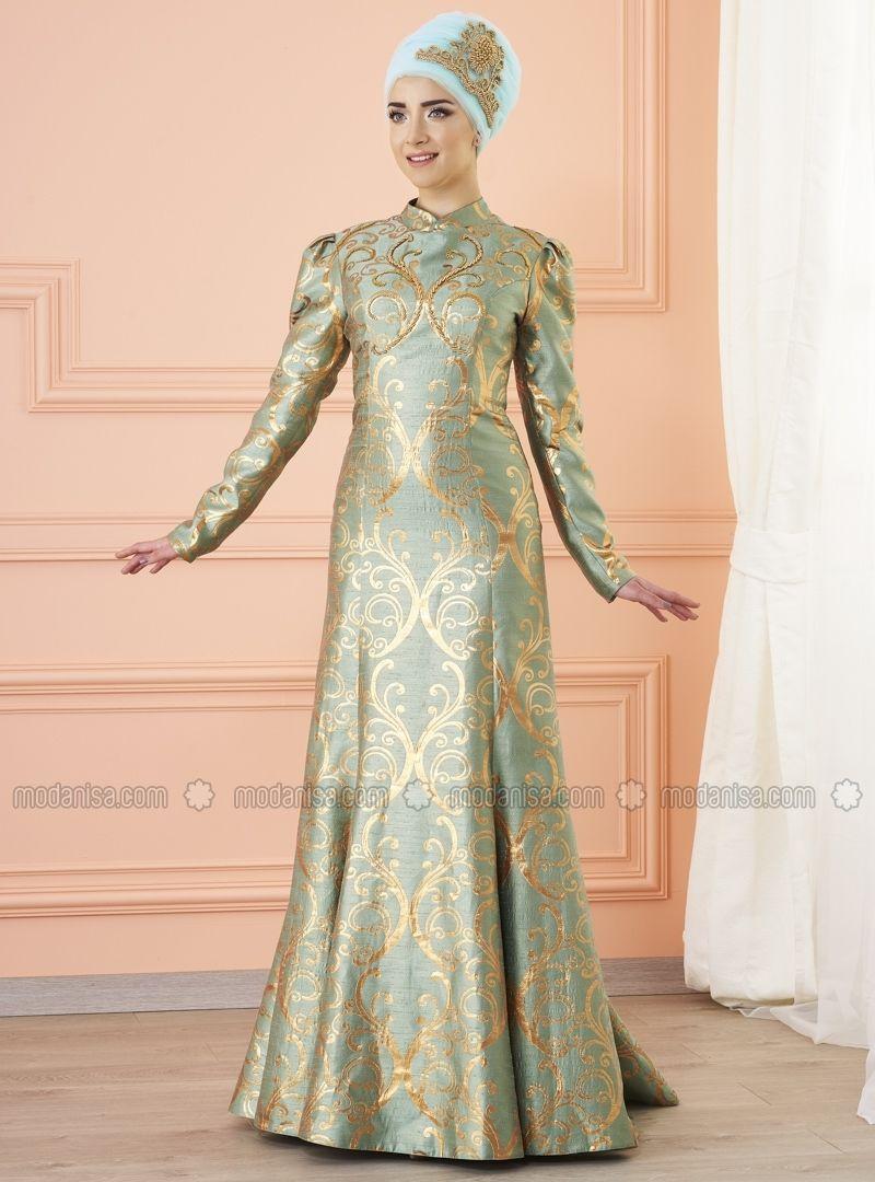 65e805c84a0 Mint - Fully Lined - Crew neck - Muslim Evening Dress - Mevra ...