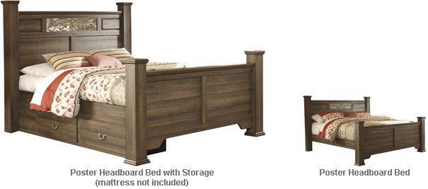 Ashley Allymore King Queen Poster HBD Bed with Storage The Vintage Casual look of the Allymore bedroom collection features an aged brown rough sawn