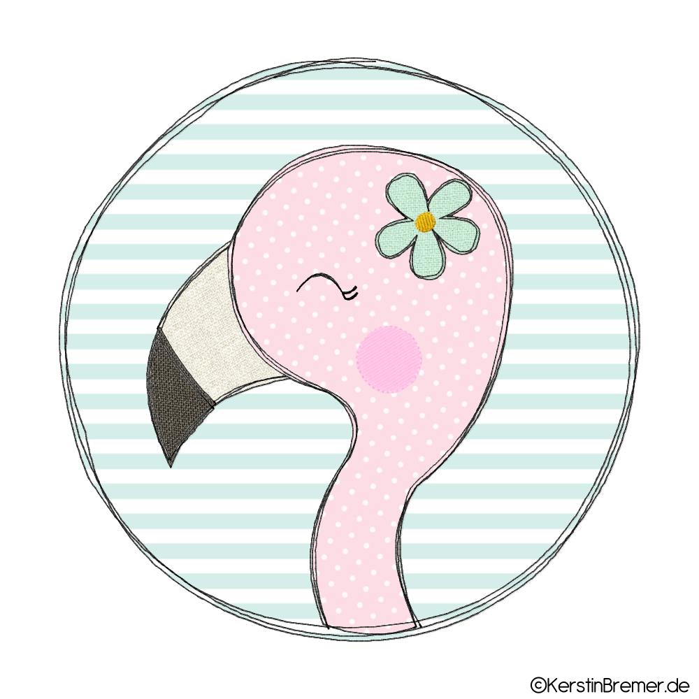 Fichier de broderie Doodle bouton fille Flamingo   – Applikation & Co