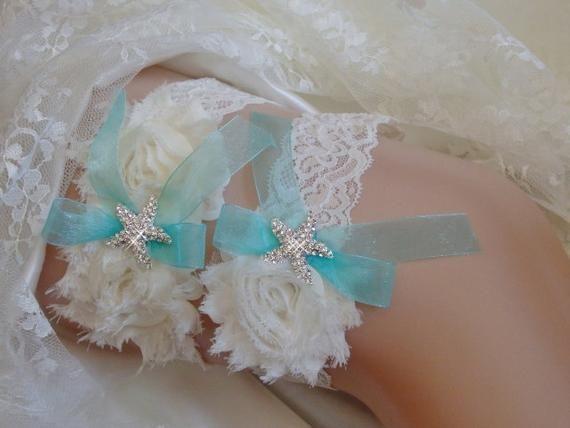 Teal** on White Organza Wedding Garter Set