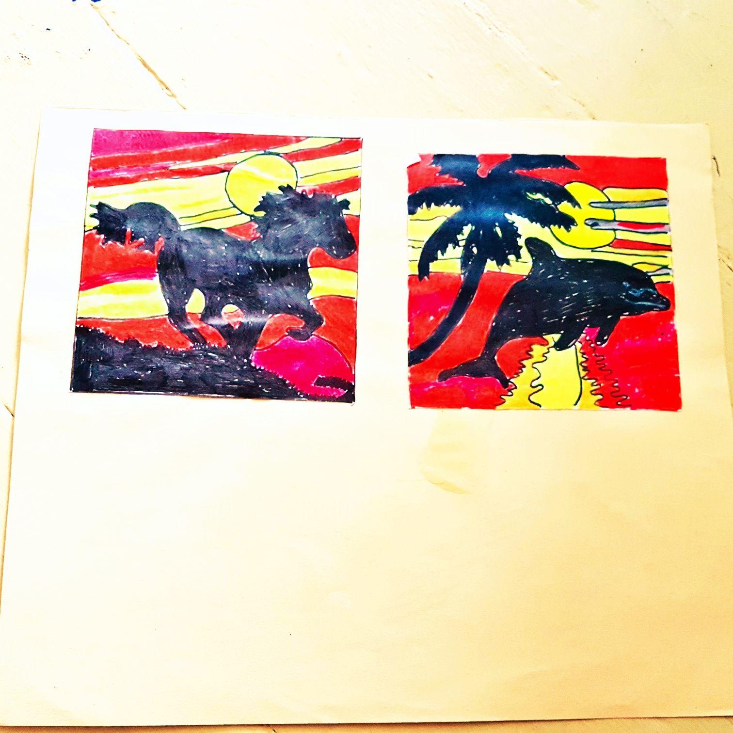Meine Zeichnung von einen Pferd und Delphin bei Sonnenuntergang