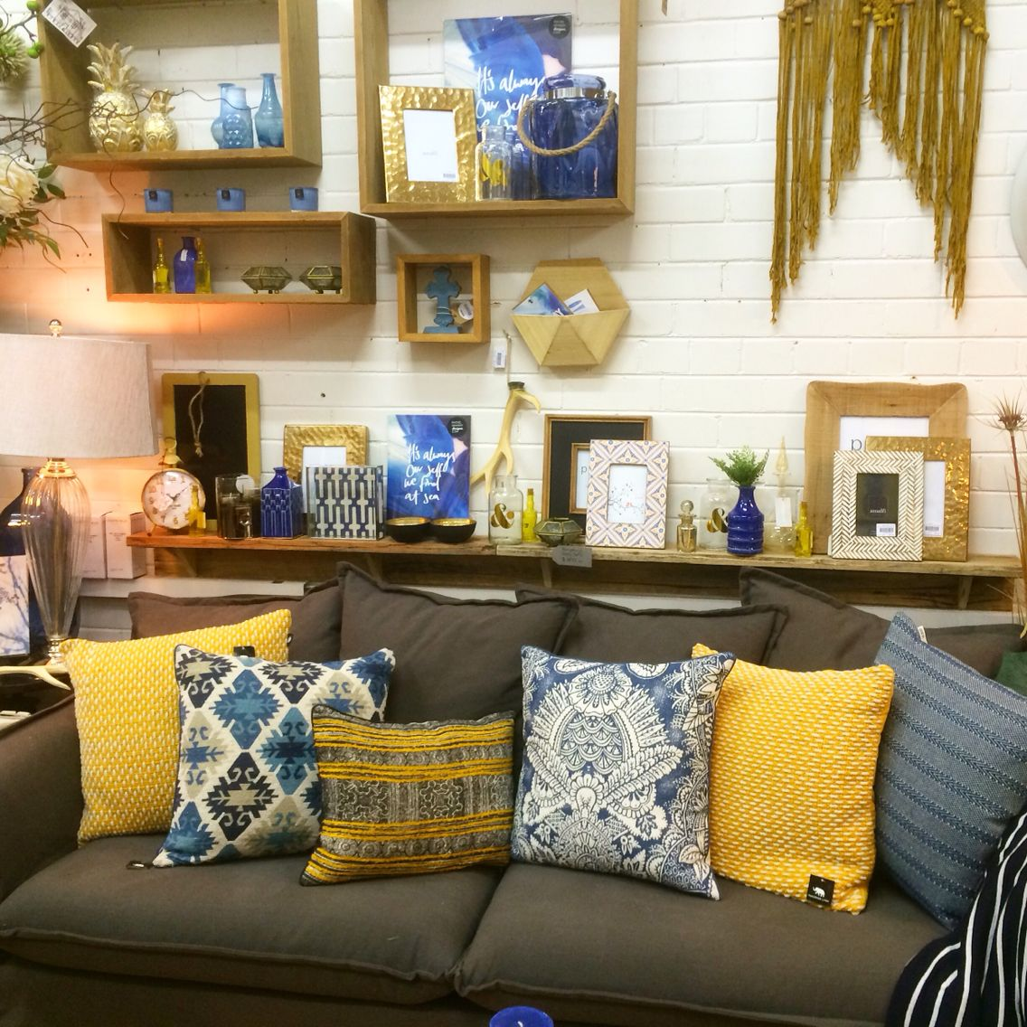 Home Decor Shop Design Ideas: Mustard And Indigo Shop Display. Home Decor And Interiors
