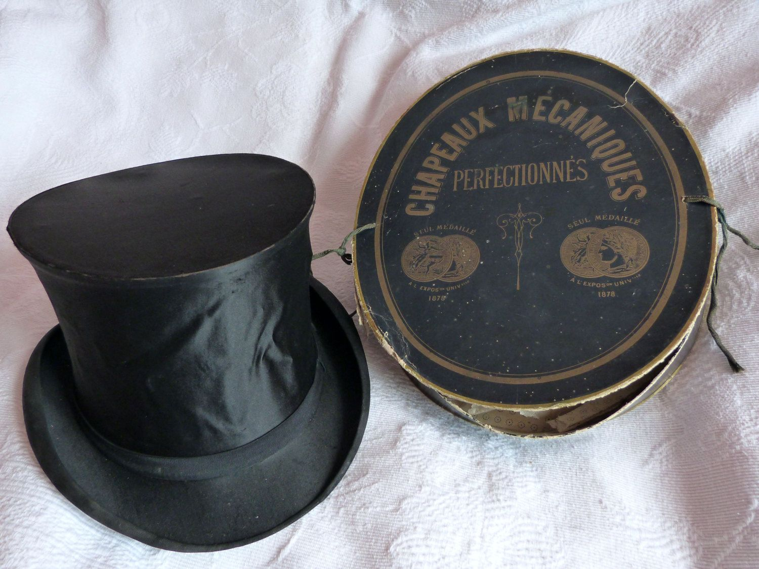 Antique French Silk Collapsible Top Hat Gibus W Hat Box Paris Etsy Antique Hats French Silk Steampunk Top Hat