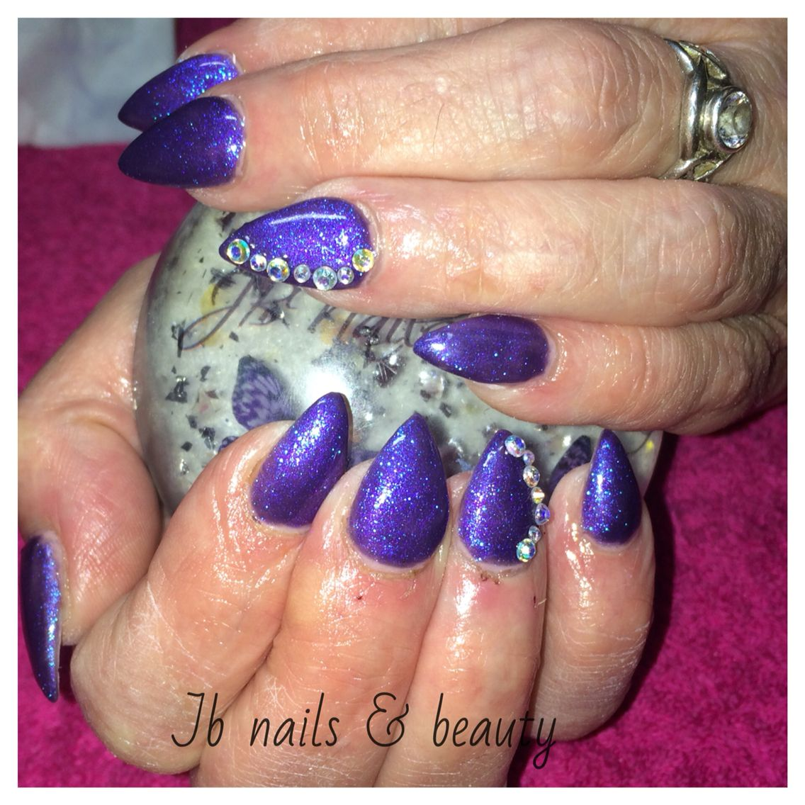 Deep Blue nail extensions with added bling & sparkle | My nails ...