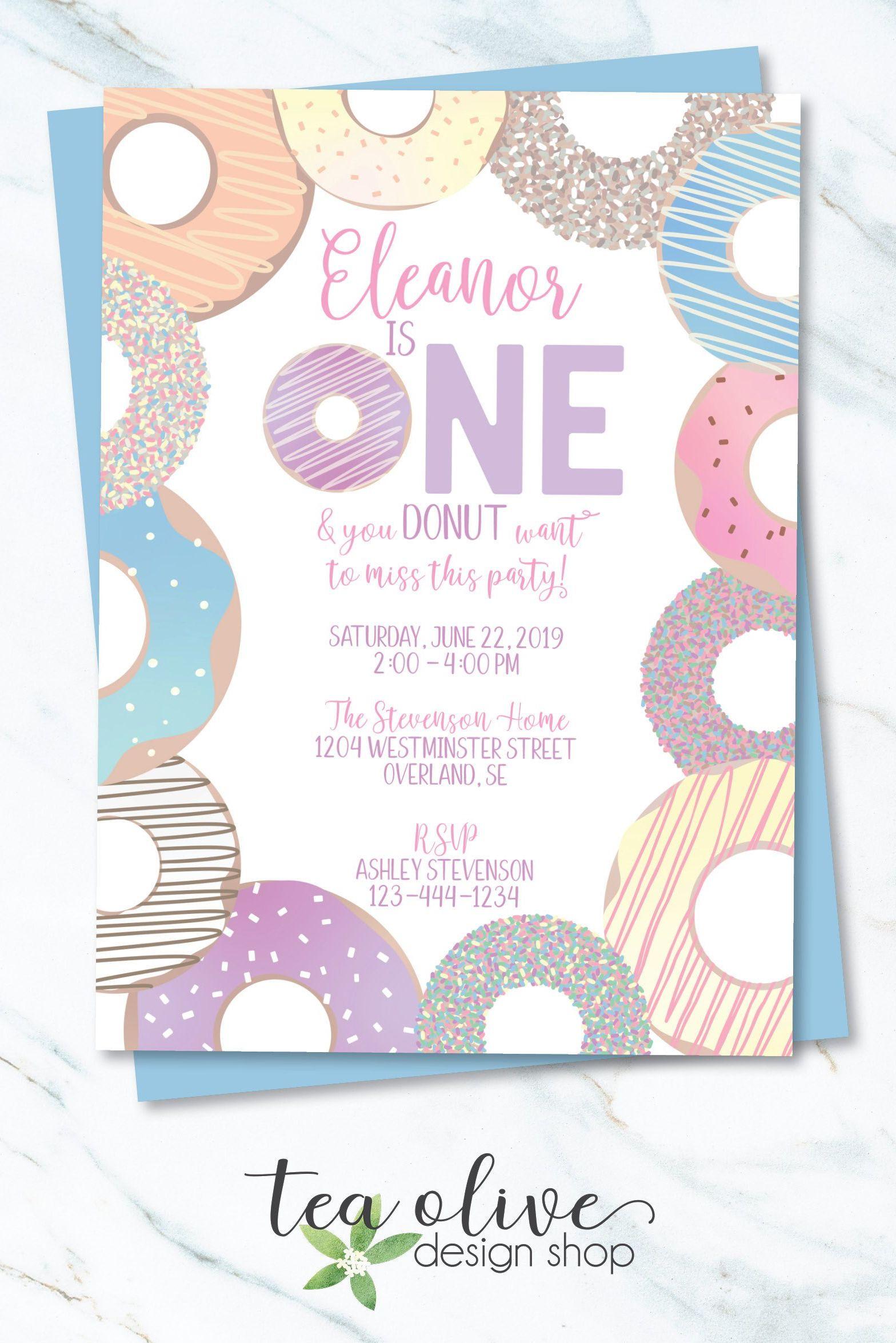 Check Out This Donut Birthday Invitation Etsy Papergoods Girlsbirthday Birthdayinvitation