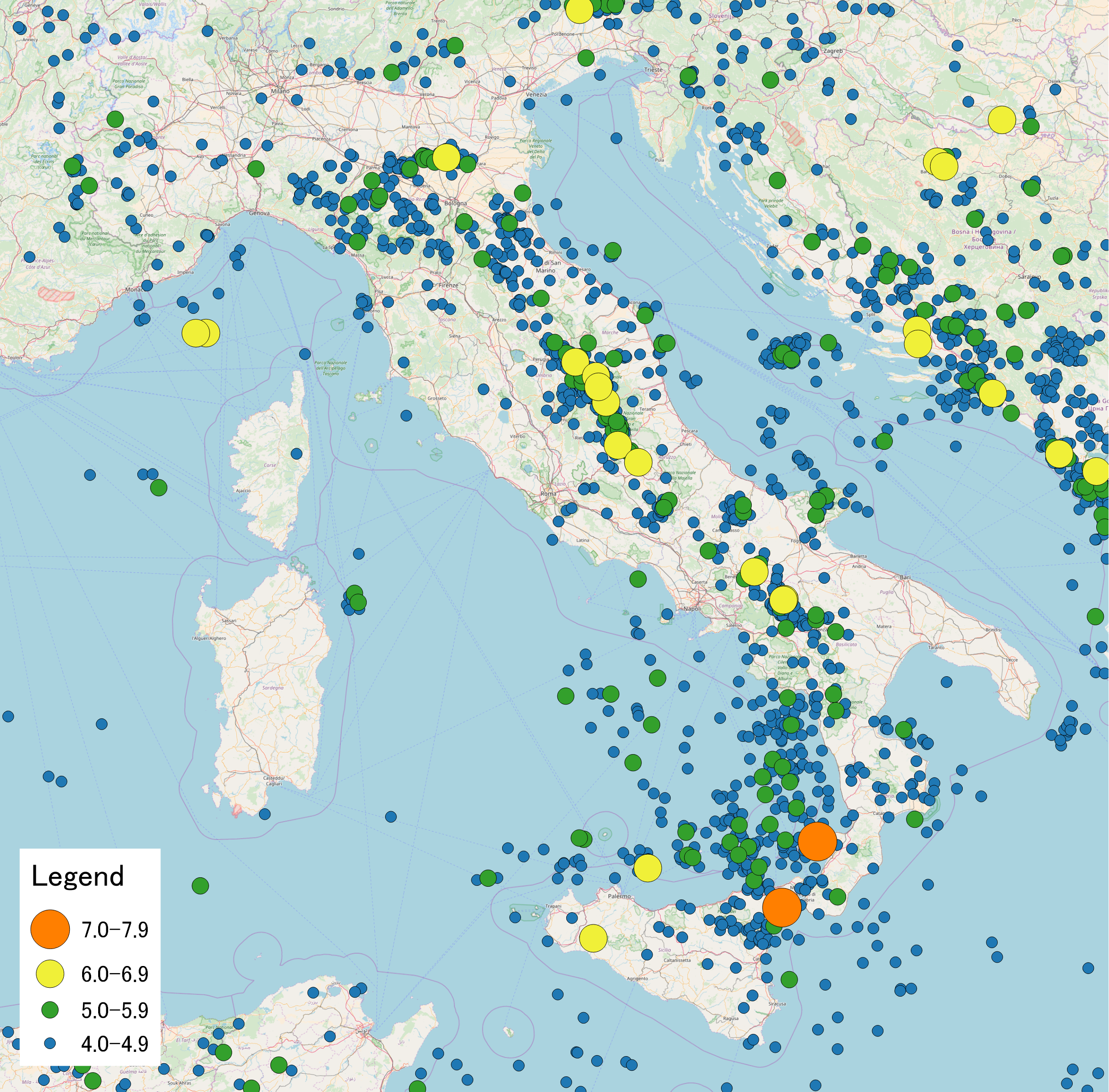 Map of earthquakes in Italy 1900 2017 Sublime Maps