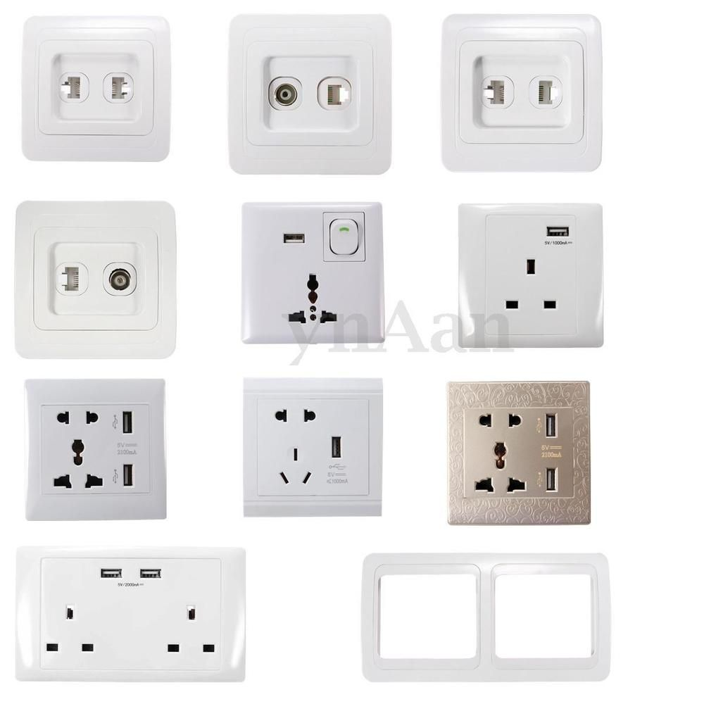 Universal Uk Usb Outlet Wall Electrical Light Switch Socket F Tv