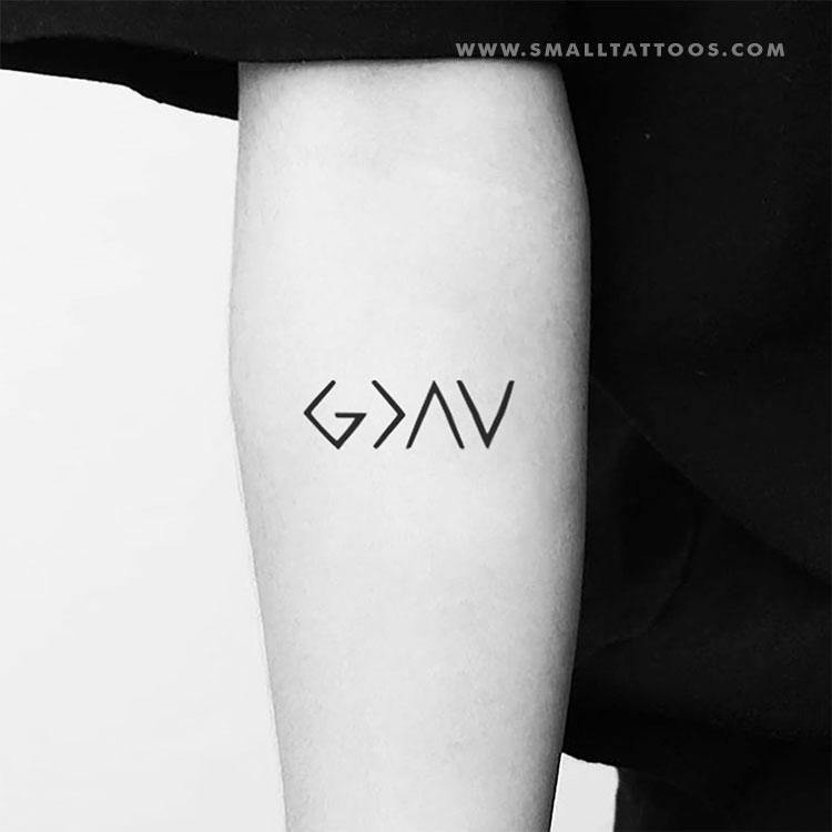 God Is Greater Than My Highs And Lows Symbol Temporary Tattoo Set