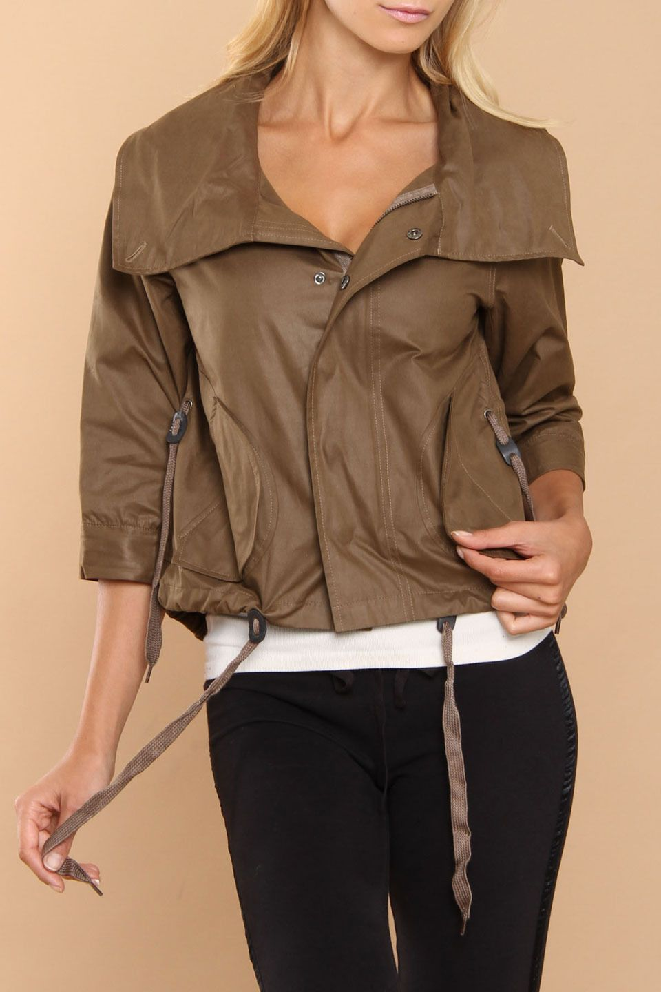 Heidi Klum HKNB Conradine Laminated Jacket In Olive -in brown a definite yes