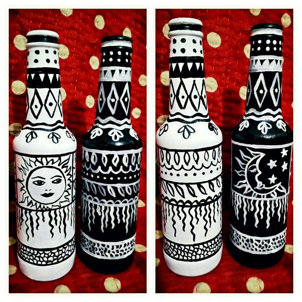 Day Night Black White Hand Painted Bottles Painted Glass Bottles Bottles Decoration