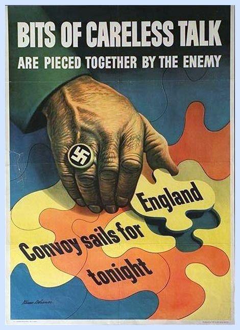 1940 BITS OF CARELESS TALK World War 2 Poster