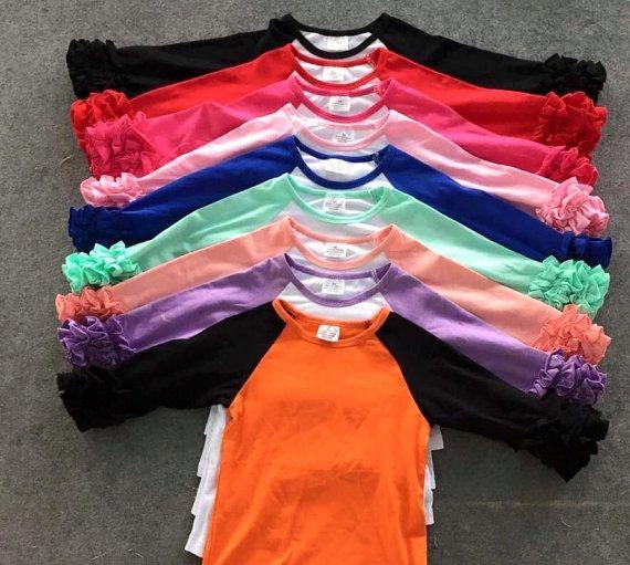 Halloween Baby Girls Icing Ruffle Raglan Shirt Baseball Blank Boutique Top Tee