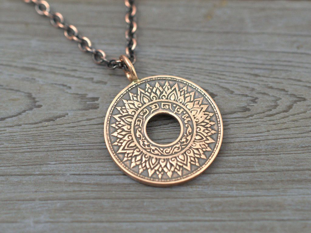 Mandala necklace lotus pendant thailand bronze coin pendant mandala necklace lotus pendant thailand bronze coin pendant antique coin jewelry zen izmirmasajfo