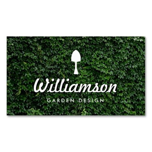 White Spade Green Leaves Gardening Services Business Card Card