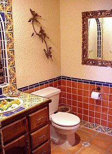 mexican style bathrooms Mexican Style Powder Room dream house