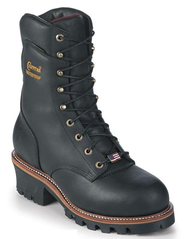 7e9b5938cff Chippewa® Men's Black Foot & Shaft Rugged Outdoor Work Boots   Men's ...