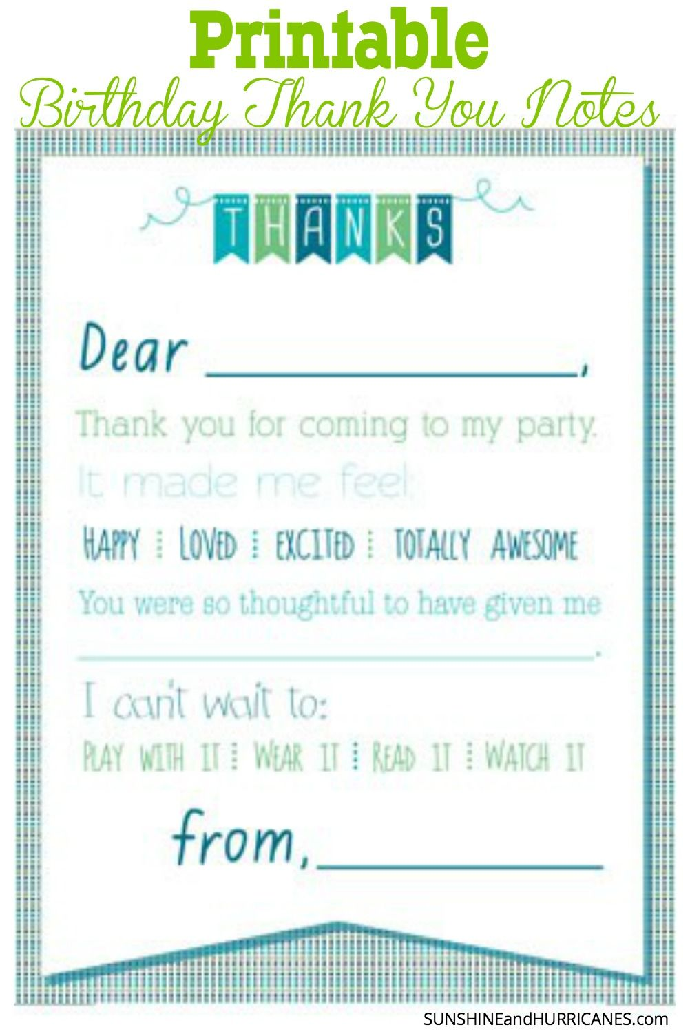 Printable Birthday Thank You Notes Birthday Thank You Notes Thank You Cards From Kids Thank You Note Template