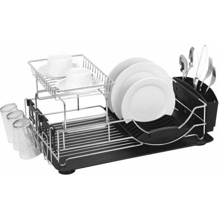 Dish Drying Rack Walmart Classy Home Basics Dish Drainer Deluxe Black  Dish Drainers Dishes And Design Ideas