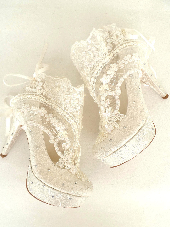 Lace Wedding Shoes Something Blue Embellished Ivory Bridal Bridal Boots Wedding Shoes Lace Bridal Shoes