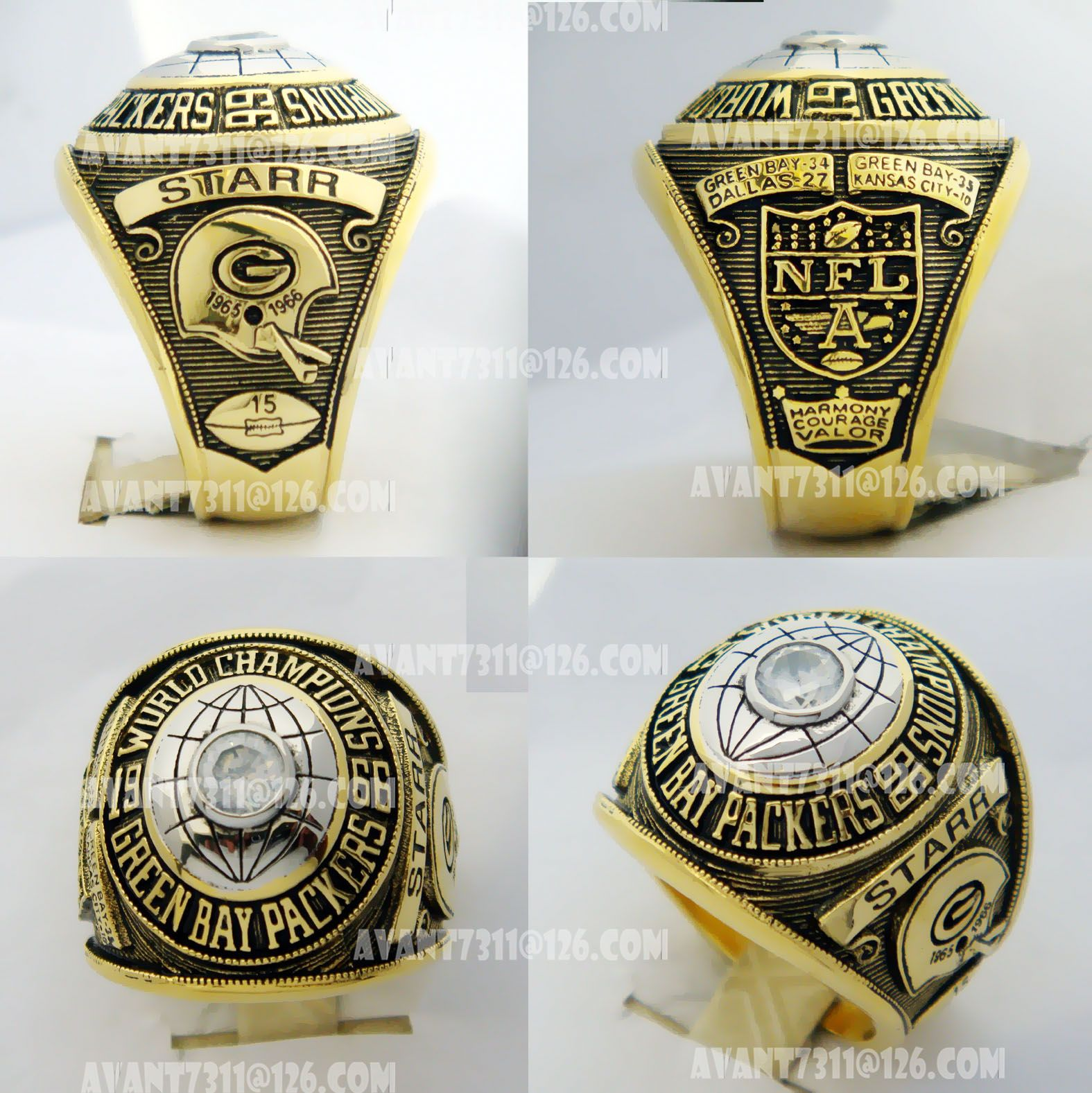 Byer 1966 Green Bay Packers World Championship Ring Super Bowl Rings Packers Super Bowl Championship Rings