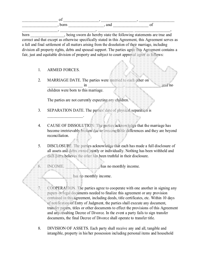 Sample Divorce Settlement Agreement Form Template  Projects To