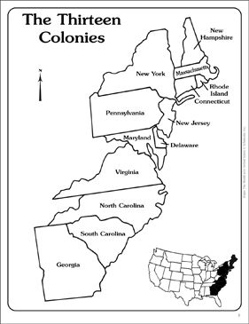 Maps of the Thirteen Colonies (Blank and Labeled) by
