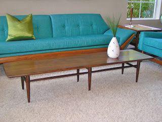 Mid Century Modern Bassett Furniture Walnut Long Surfboard Coffee Table